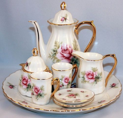 SaLe!! Dollhouse Miniature Lovely Pink Rose Tea Set with Green Trim