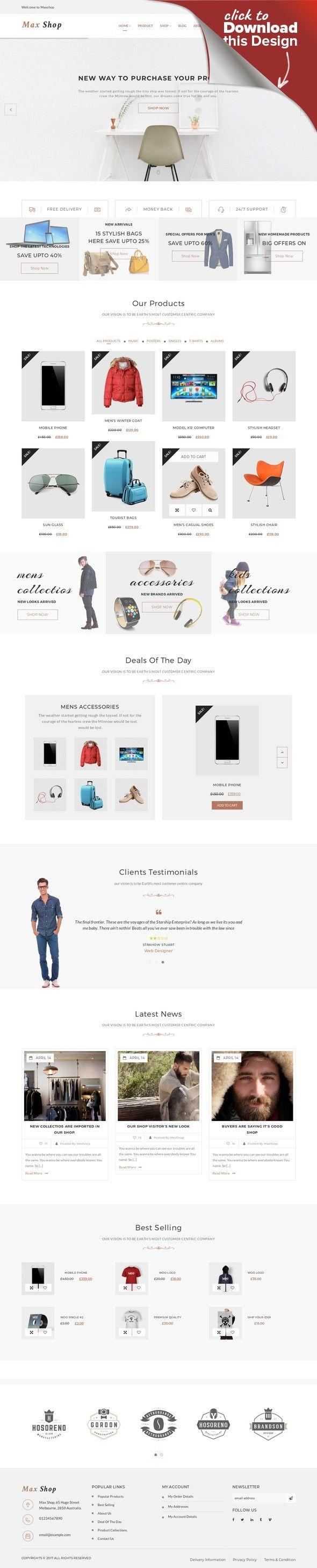 Responsives WooCommerce Theme für Jeans E-commerce Vorlagen ...