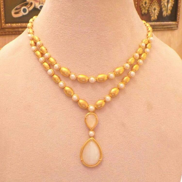 At @kjewelleryco. Gold necklace with pearls. #المباركيه #gold ...