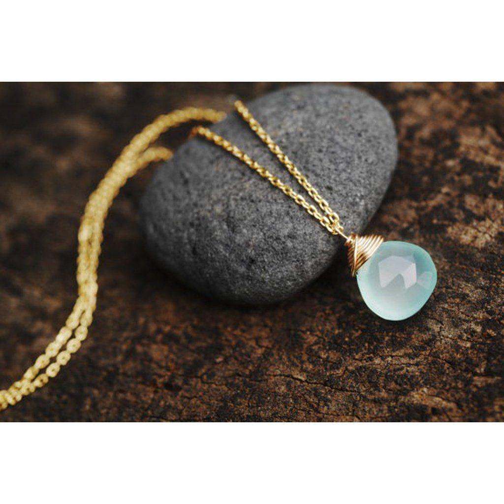 Womens Aqua Chalcedony necklace Aqua chalcedony necklace