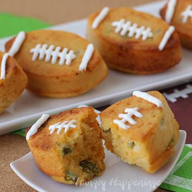 Spice up your corn bread for Super Bowl and serve football shaped Jalapeno Cheddar Corn Bread Footballs. http://www.hungryhappenings.com/2015/01/jalapeno-cheddar-corn-bread-footballs.html Krusteaz