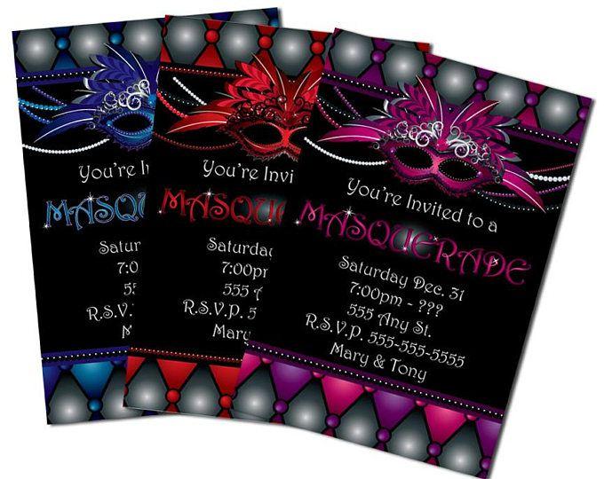 Masquerade Invitations Masquerade Invitation Sweet 16 Invitation