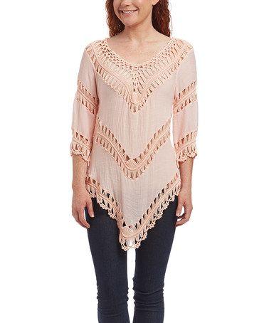 Loving this Peach Crochet Linen-Blend Top - Women on #zulily! #zulilyfinds