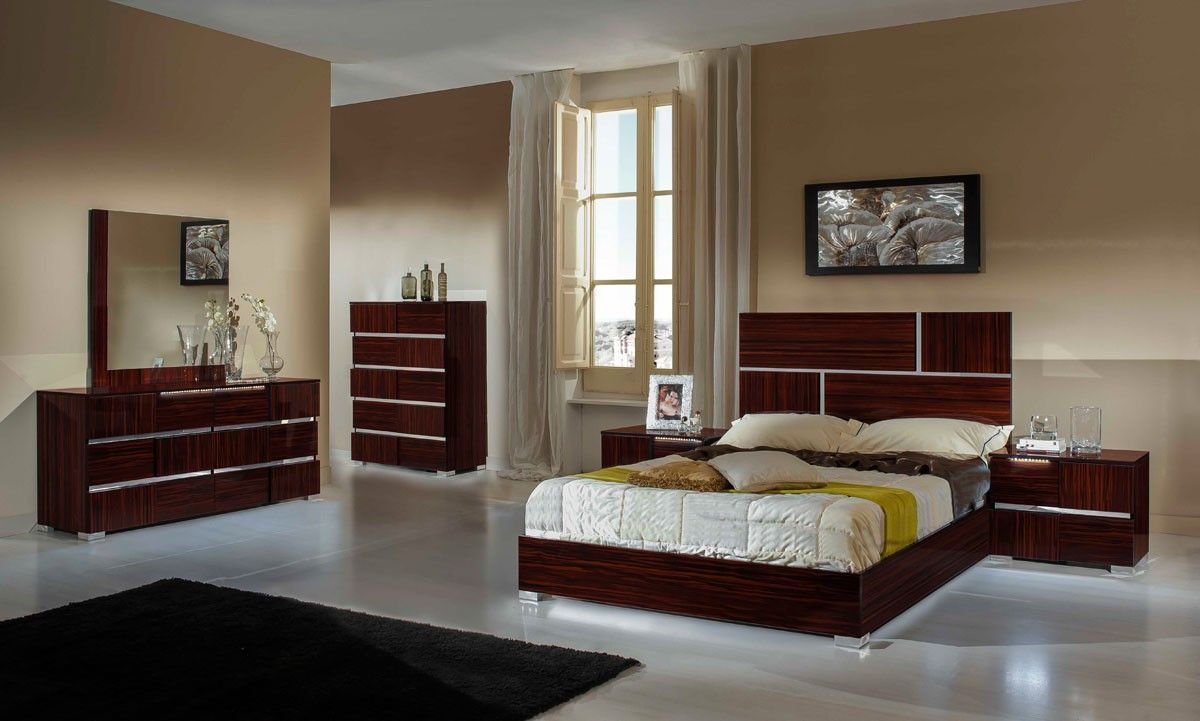 Best Modrest Picasso Italian Modern Ebony Lacquer Queen Bedroom 400 x 300