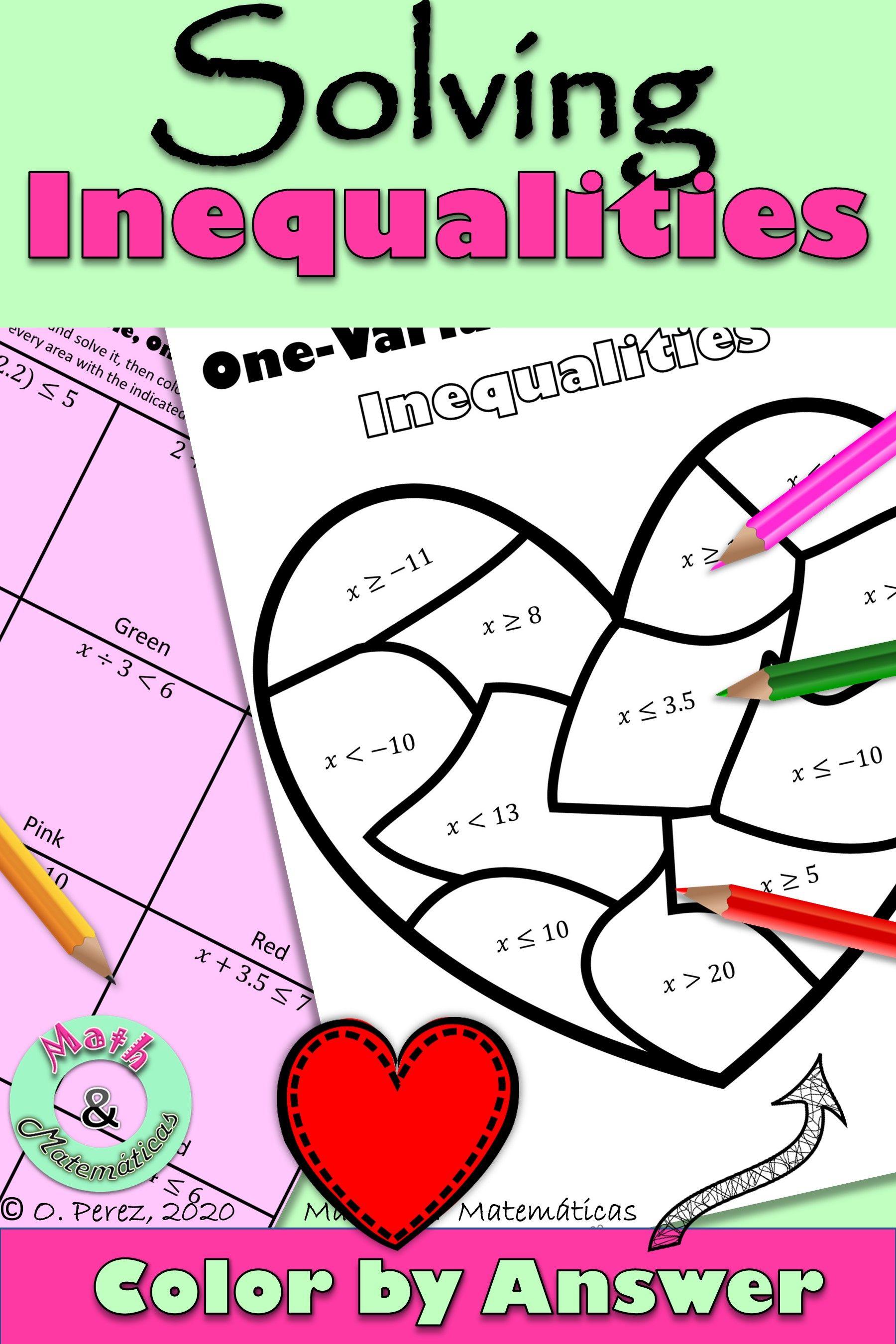 Valentine S Day Solving Inequalities One Step Inequalities