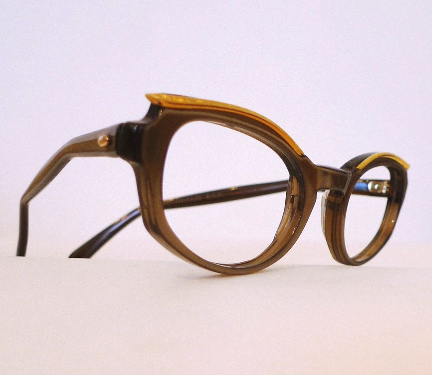 Vintage Titmus Cat Eye Frames, Pearly Taupe Cats, Golden Brow Horn ...