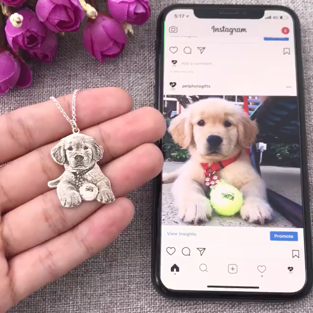 Personalized Engraved Photo Necklace Photo Keychain Video Video Pet Necklace Dog Jewelry Dog Necklace