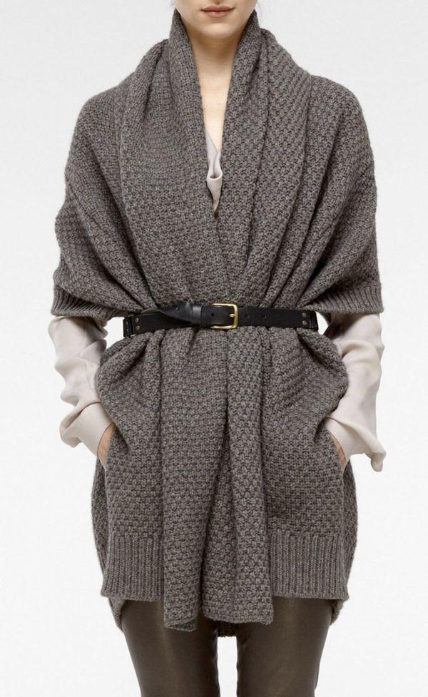 Belted chunky knit cardigan | My Style | Pinterest | Chunky knit ...