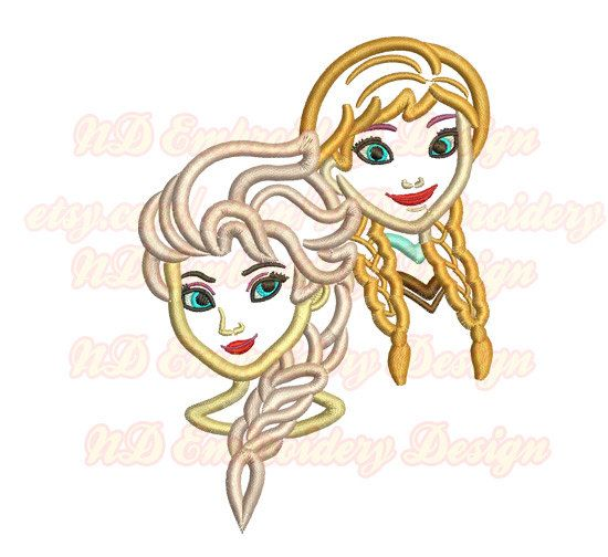 Cute Princess Sisters Face Embroidery Applique