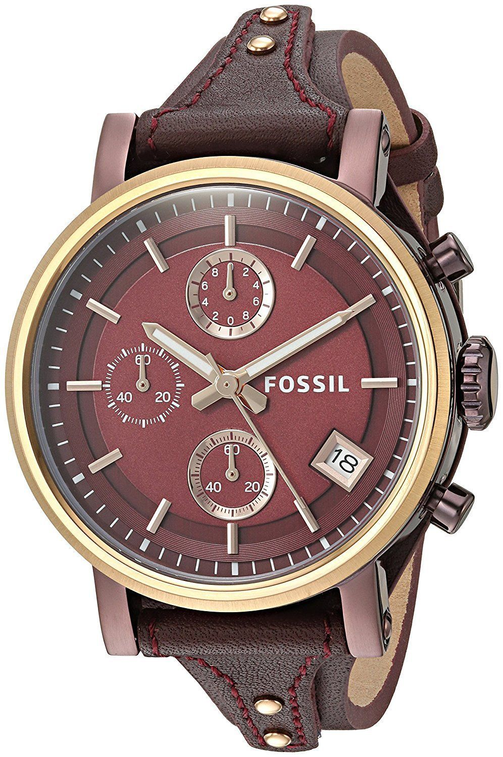 3c9822e57d0 Fossil Womens ES4114 Original Boyfriend Chronograph Red Leather Watch
