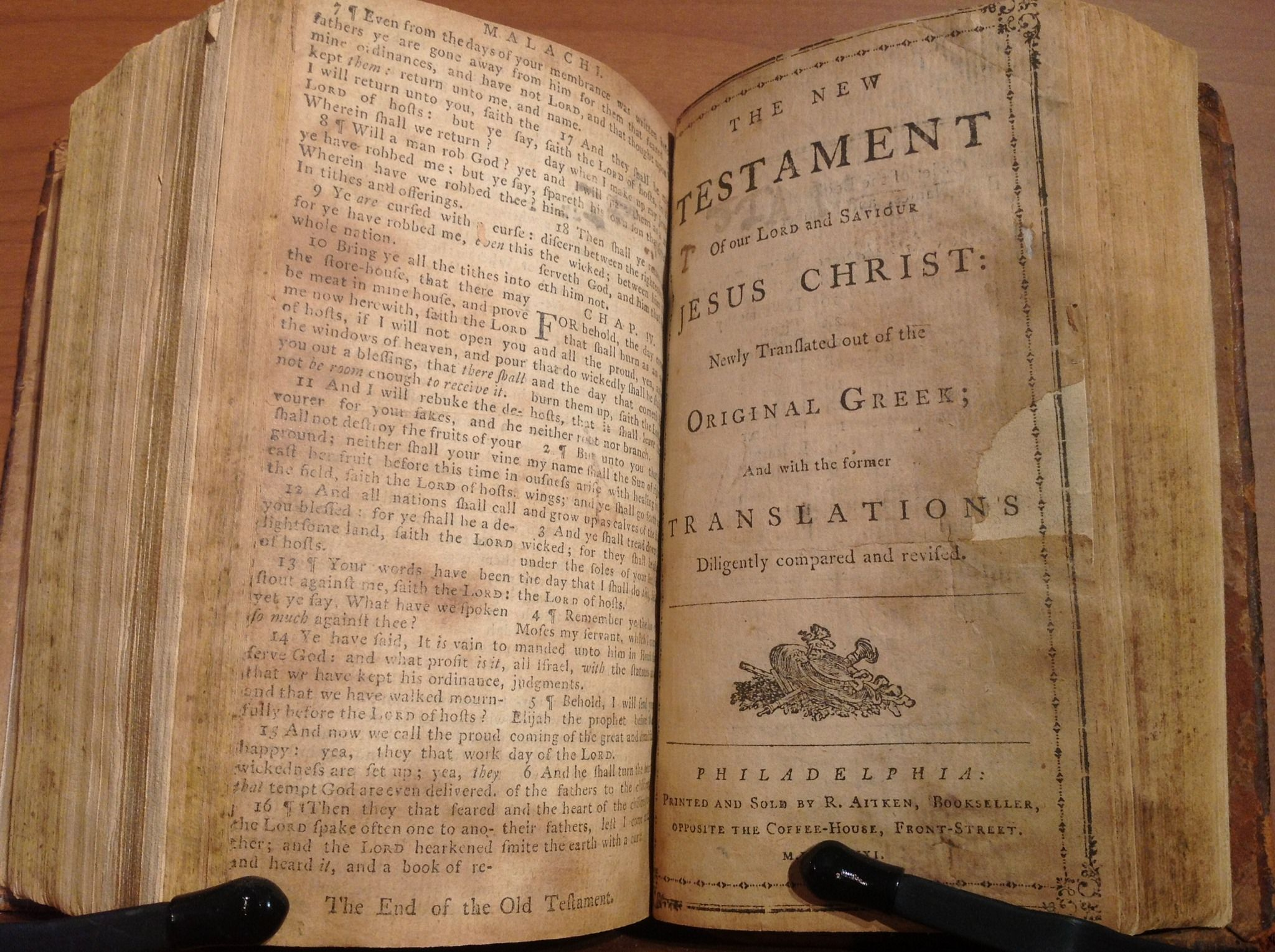 1782 Robert Aitken Bible - The First English Bible Printed in