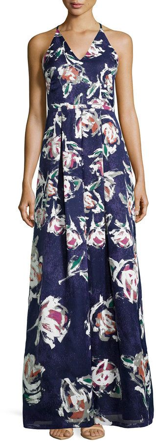 Phoebe V-Neck Floral-Print Ball Gown