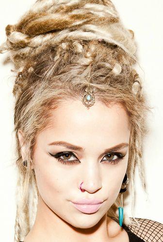 dread bun, beautiful young woman