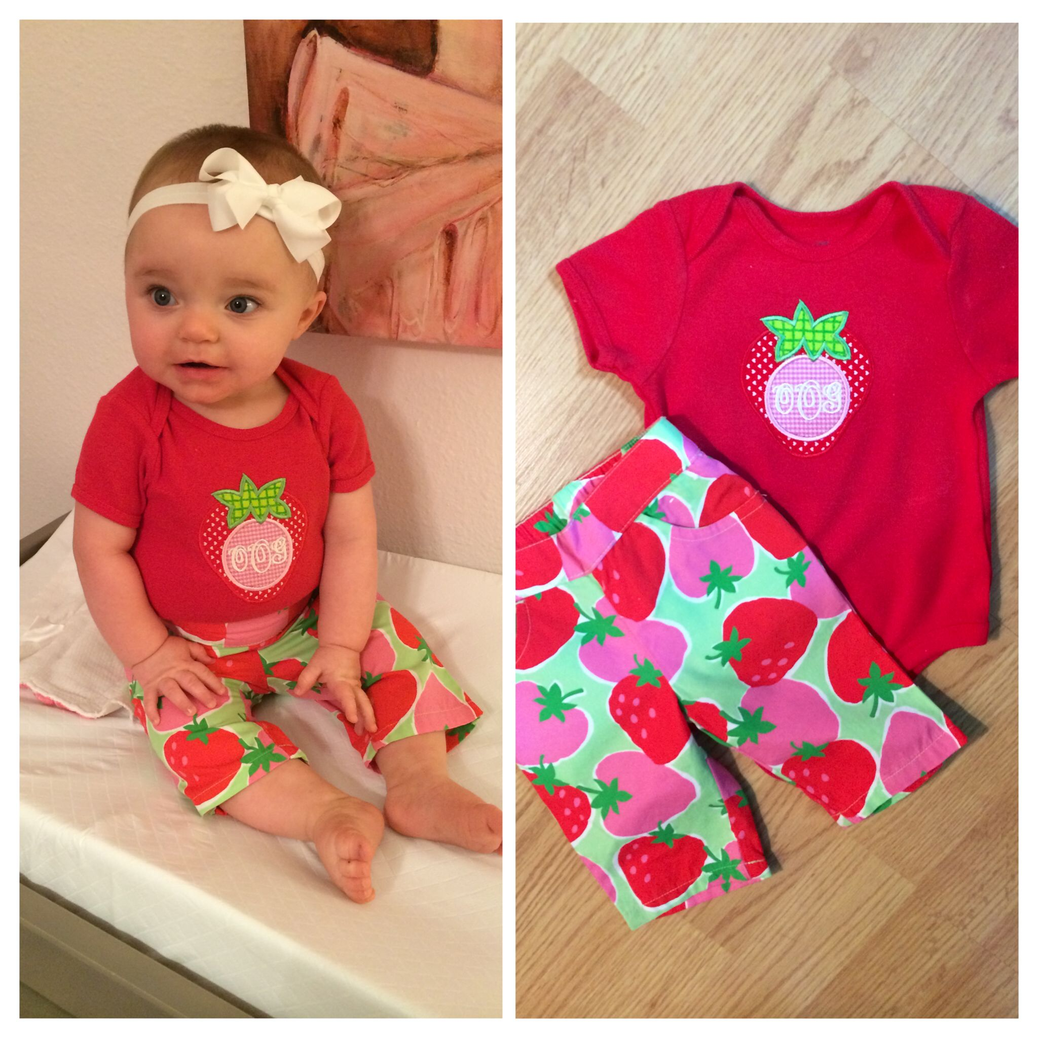 Strawberry shirt with monogram that I made to match some cute little capris for my daughter!