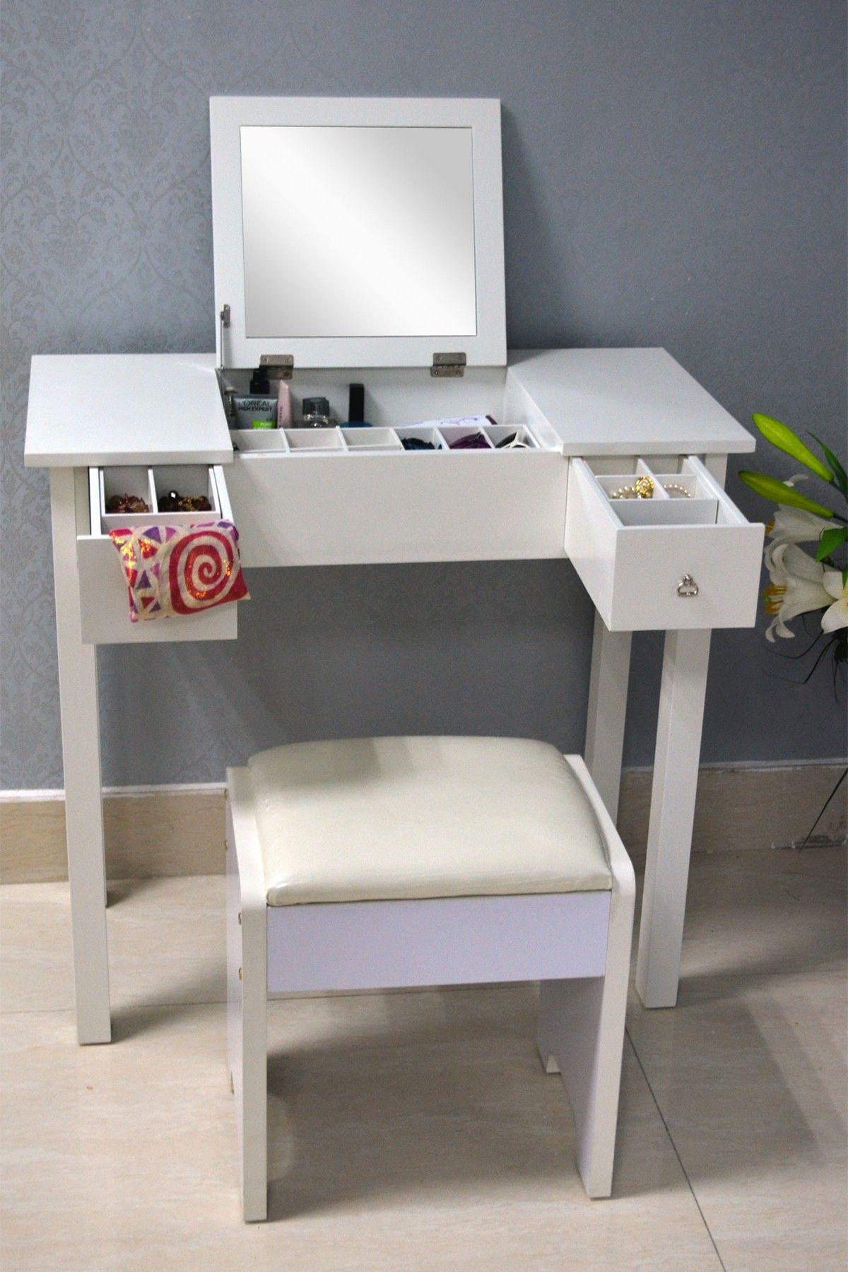 White wooden vanity dressing table on hautelook real life living