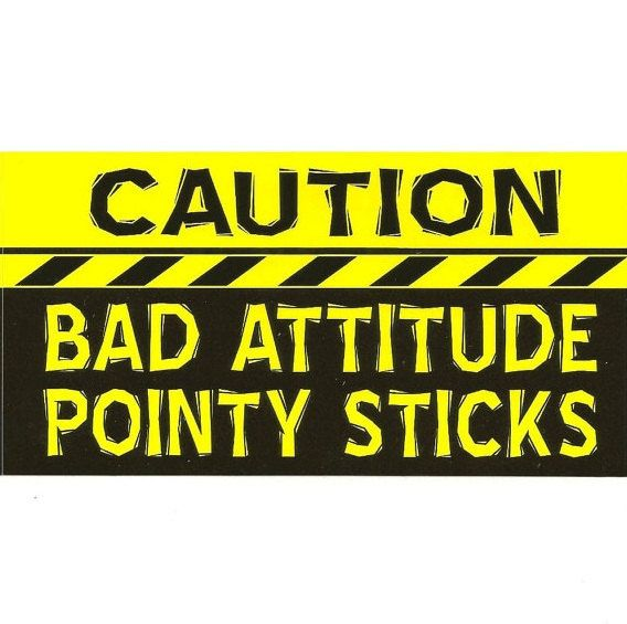 Knitting bumper sticker caution bad additude pointy by zippypins 3 00