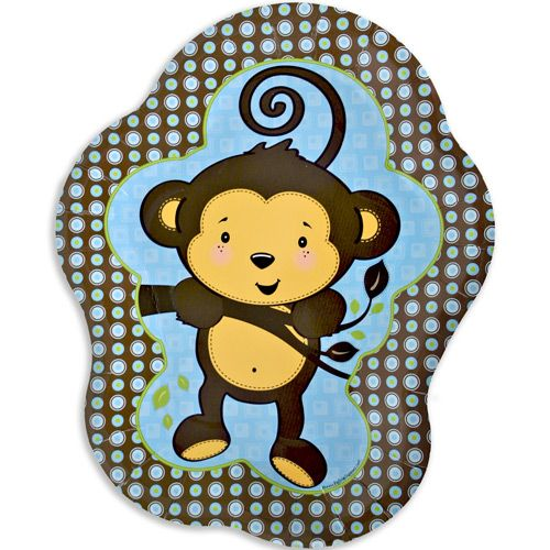 monkey boy dinner plates 8 qty pack baby shower party supplies