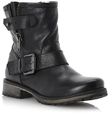 Dune Ladies PROMEY Side Zip Leather Ankle Biker Boot in Black