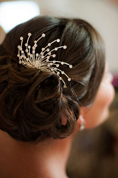 I love this bridal hair style with a sparkly accessory!