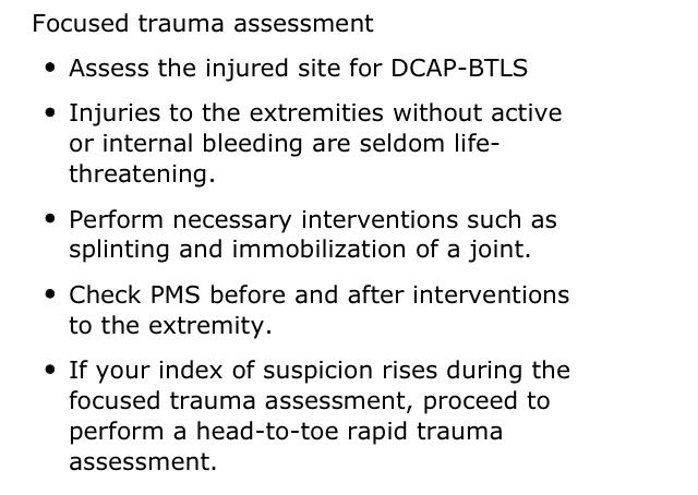 Focused History Physical Exam Trauma Patient Focused