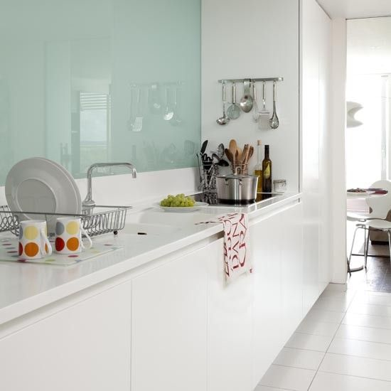 Kitchen With Modern Glass Splash Back In A Galley Kitchen