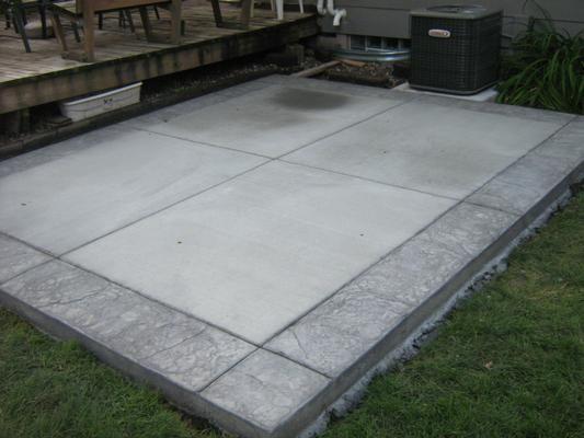 One patio idea pinterest patios for Fire pit on concrete slab