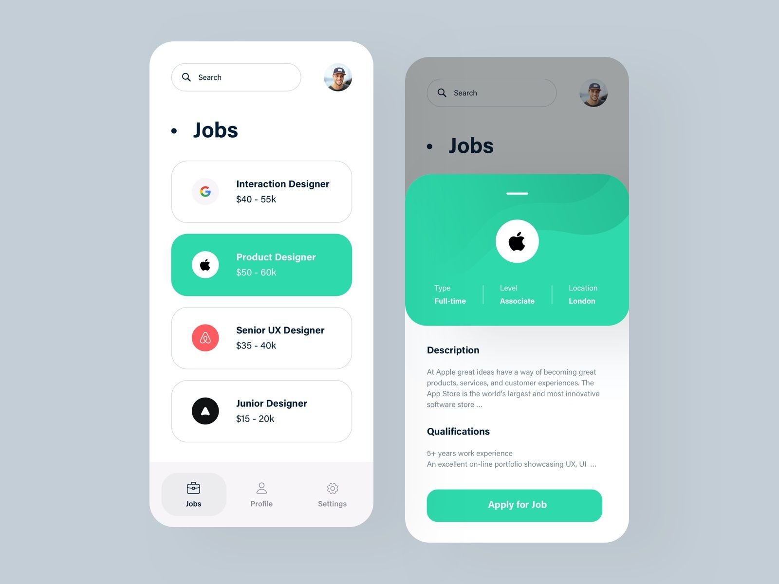Job Listing App Concept Mobile App Design App List Of Jobs