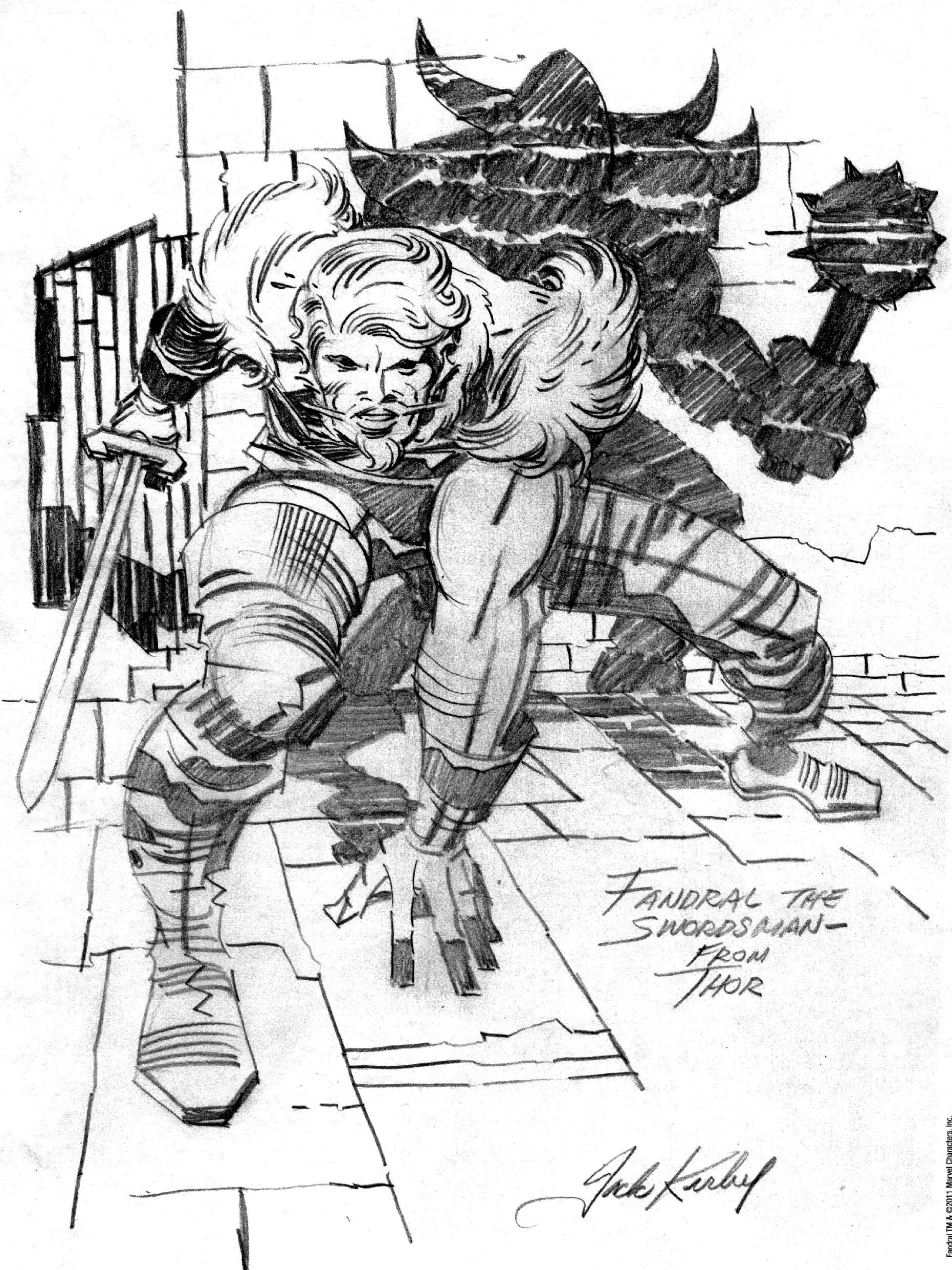 Fandral sketch from the Jack Kirby Collector, #57 | drawing | Pinterest