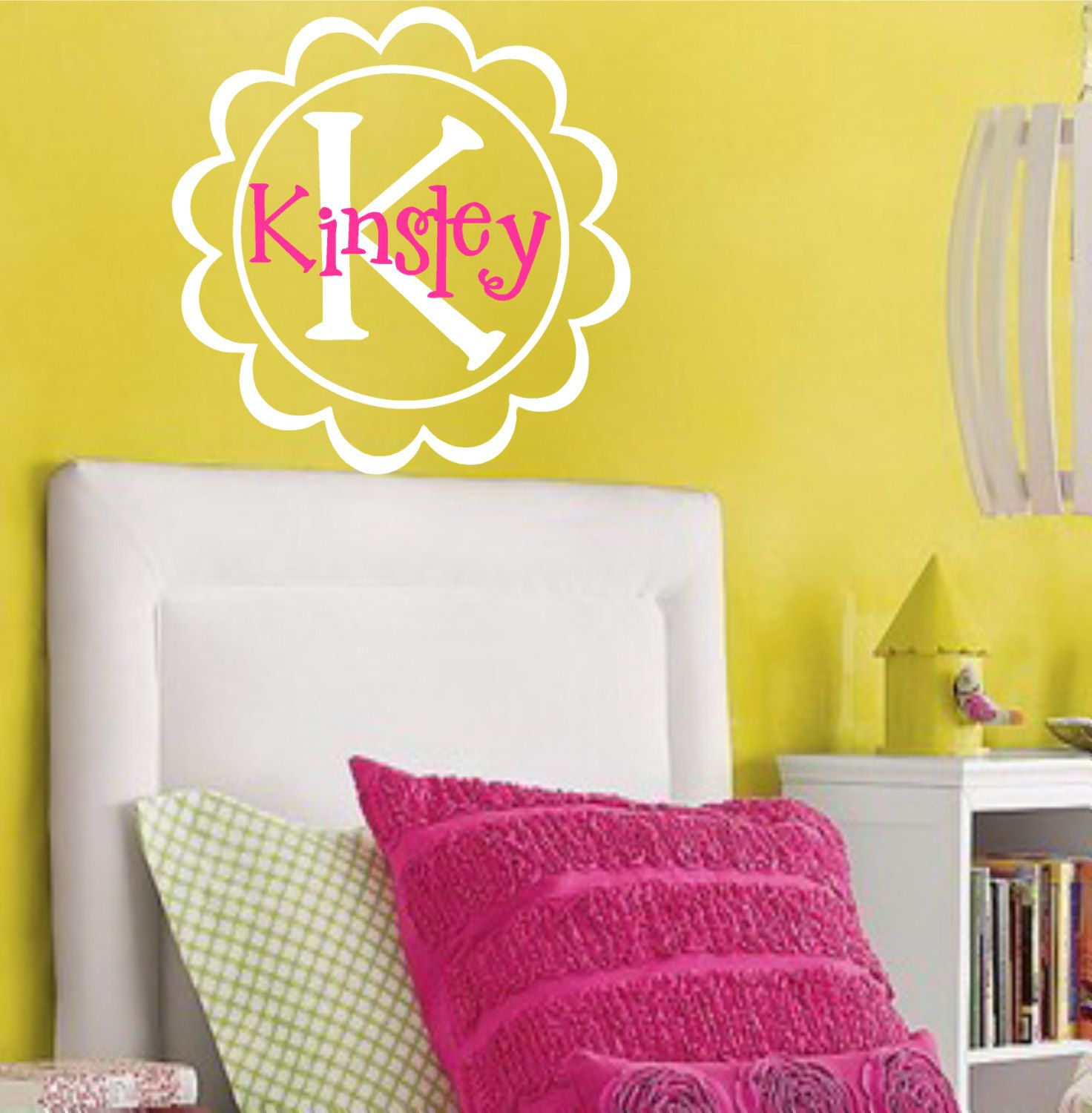 Childrens Vinyl Wall Decal-Personalized Name Initial Flower Circle ...