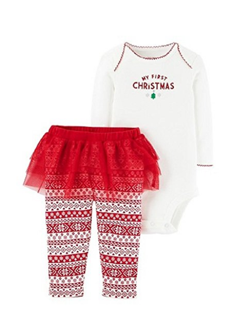 12e970980 Carters Baby Girls 1st Christmas White Bodysuit Red White Tutu Leggings Set  Size Newborn #Christmas