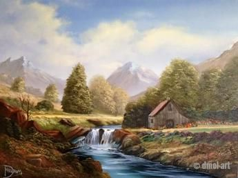Cabin Oil Painting Mountains Waterfall River Seascapes Art Cottage Art Landscape Paintings