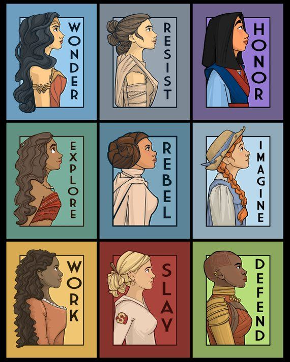Wonder Woman Rey from Star Wars Mulan Moana Princess Leia Anne of Green Gables Angelica Schulyer from the musical Hamilton Buffy the Vampire Slayer Okoye from Black Panther