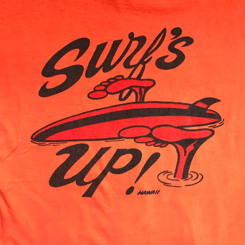 1960's Vintage Surfs Up Hawaii ink print on Mayo Spruce shirt stock size Large