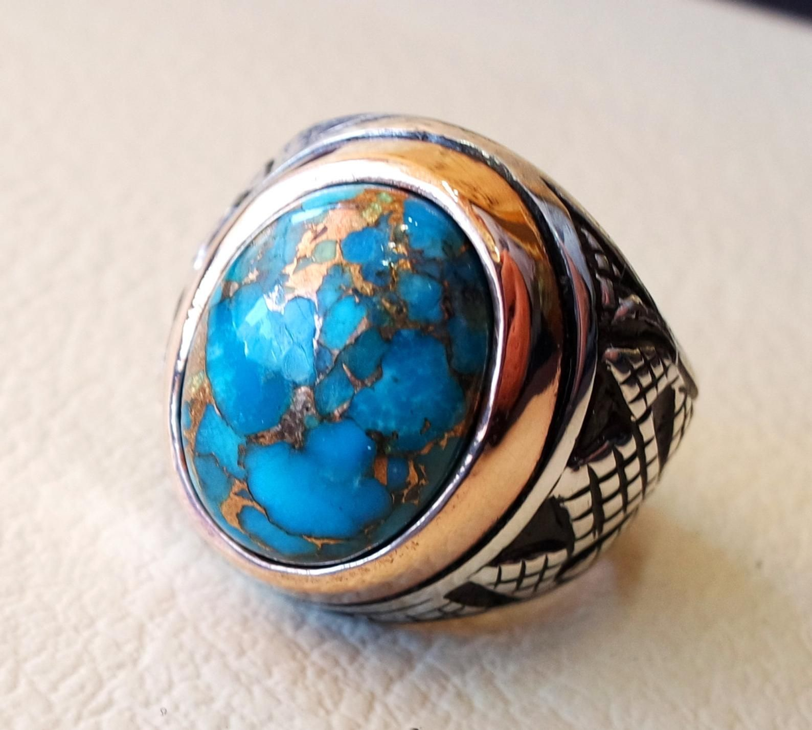 Turquoise blue natural copper stone ring sterling silver