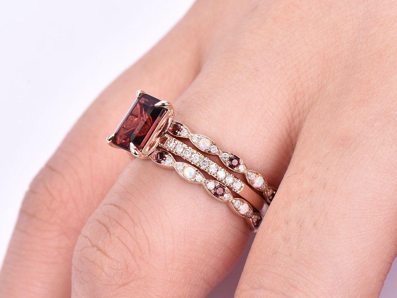 Garnet Wedding Set 2 Carat Garnet Engagement Rings Bbbgem Garnet Engagement Ring Rose Engagement Ring Pink Morganite Engagement Ring