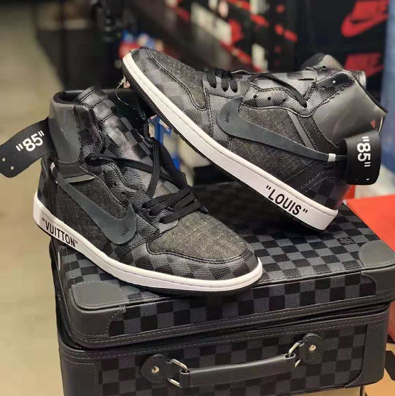 dbb786214489 Custom Off-White x Nike Air Jordan 1 x Louis Vuitton Monogram and Damier  Pattern Sneakers Shoes-KicksVogue