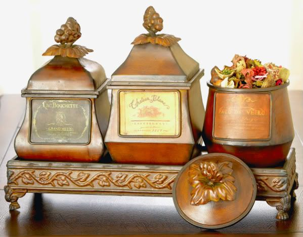 Details About French Wine Label Tuscan Decor Bo Canister Set Tray
