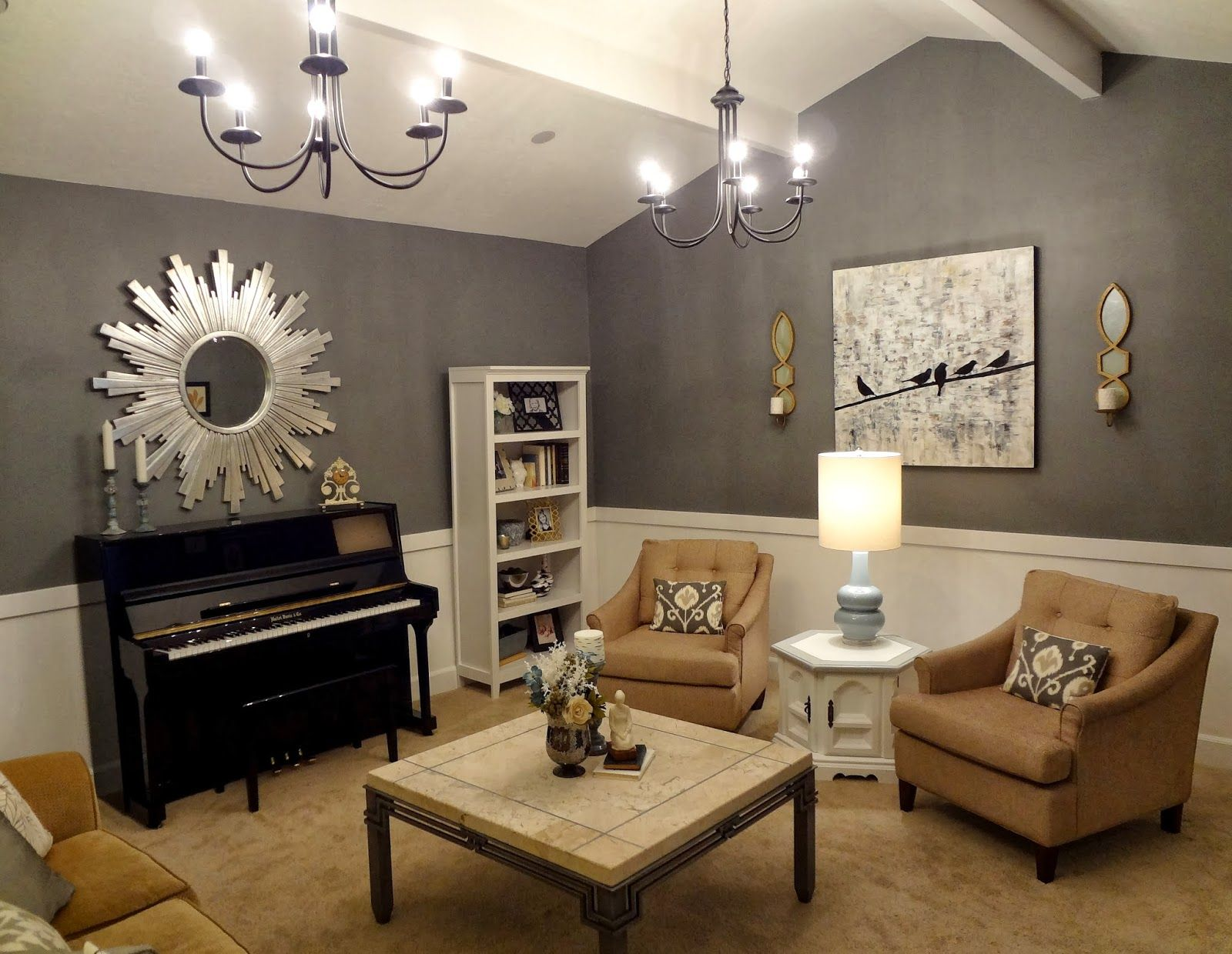 Living room design with upright piano upright piano for Piano room decor