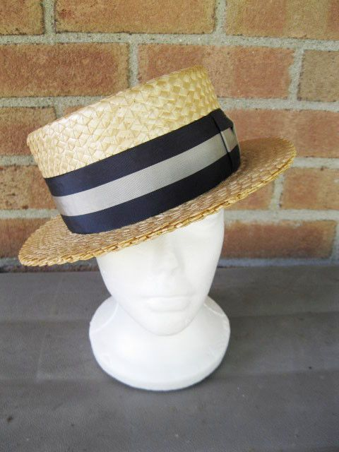 Vintage Mens Straw Hat Boater Skimmer Loring Hatters New York Size 6 7 8   LoringHatters  Straw 721f5d8f229