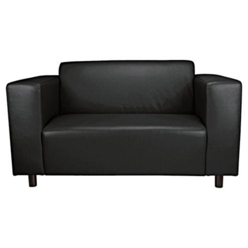 Delightful Stanza Leather Effect Small 2 Seater Sofa, Black