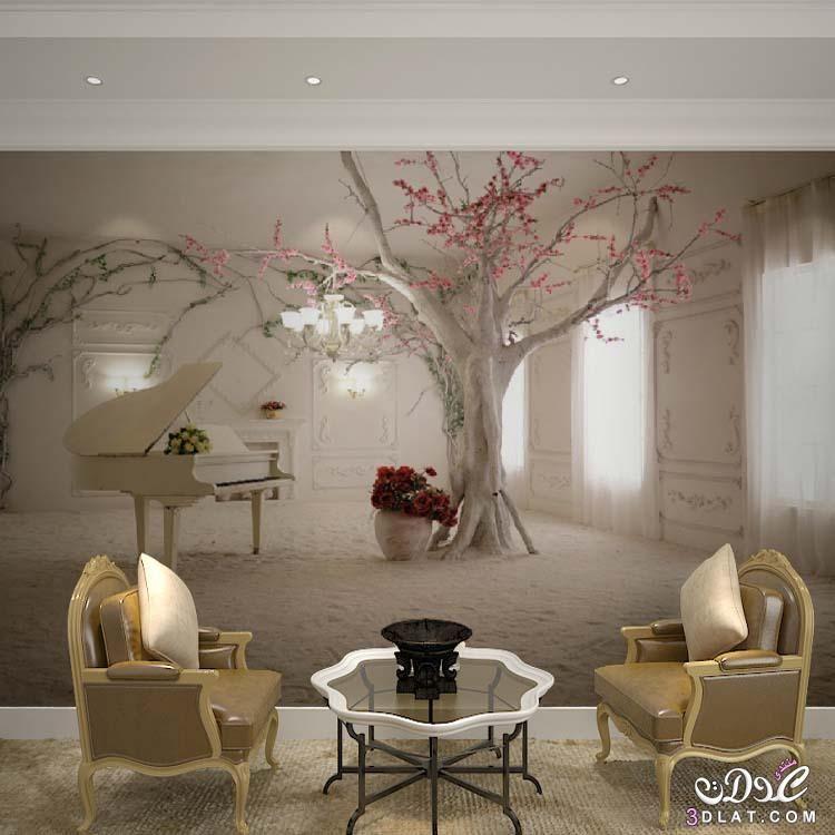 أحدث جدران ثلاثي الأبعاد رائعــــــة 2018 3dlat Net 03 17 D5aa Tree Wallpaper Living Room Wallpaper Living Room Living Room Photos