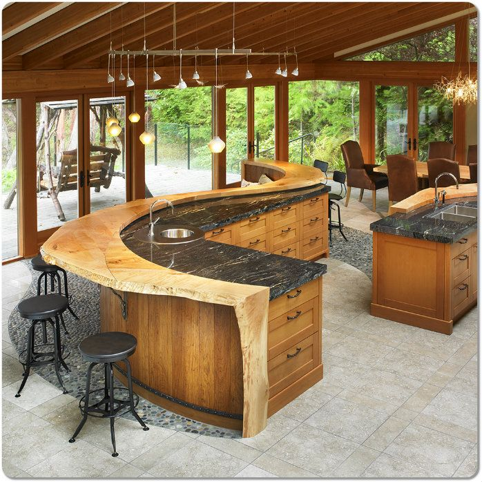 Curved Island Bar Design For A Kitchen