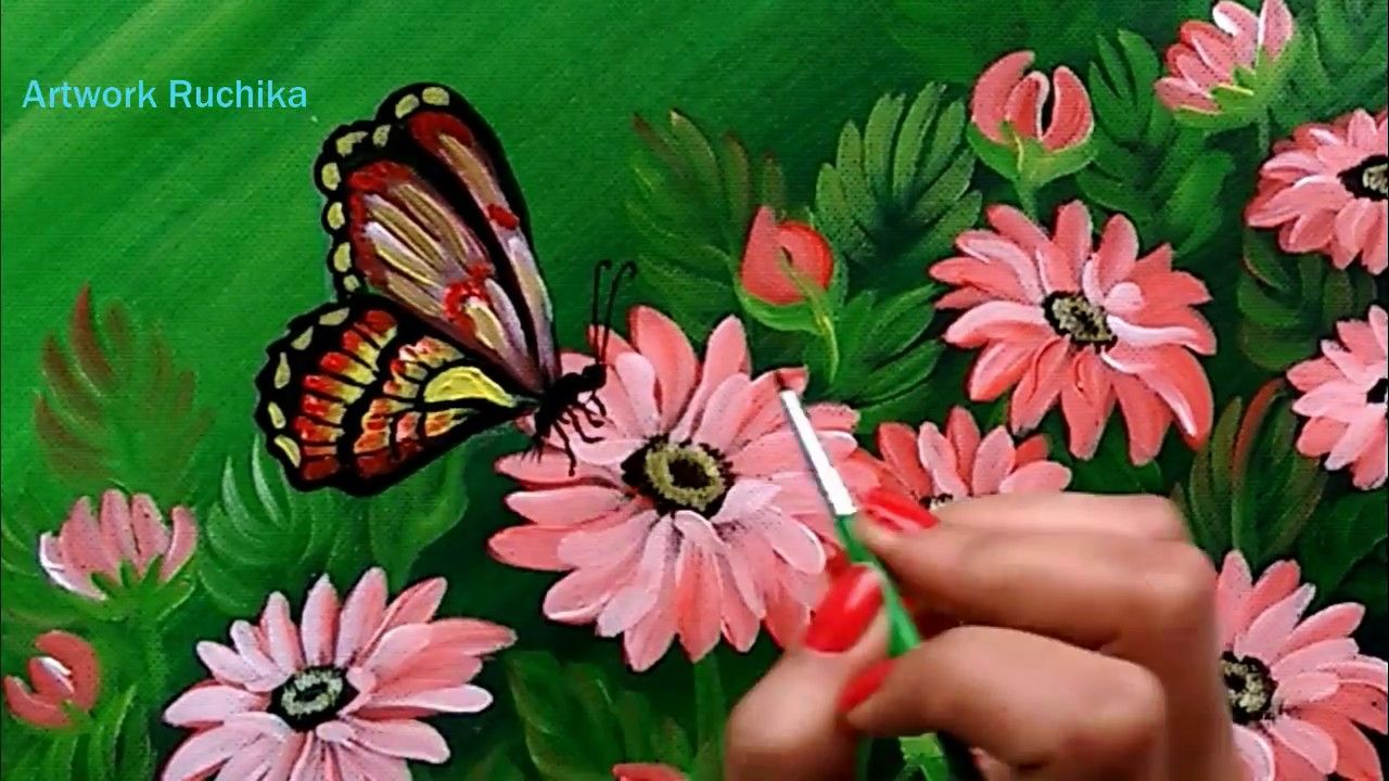 Beautiful Flowers And A Butterfly Acrylic Painting Tutorial