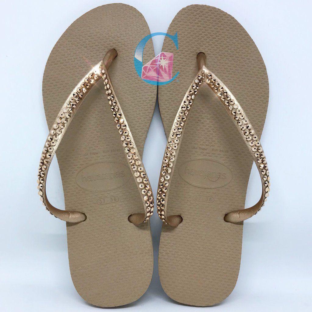 32c19548c4047 Rose Gold Thin Strap SWAROVSKI® embellished Havaianas - Rose Gold ...