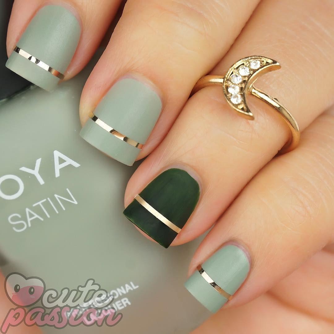 Matte green nails | Nail art | Pinterest | Maquillaje
