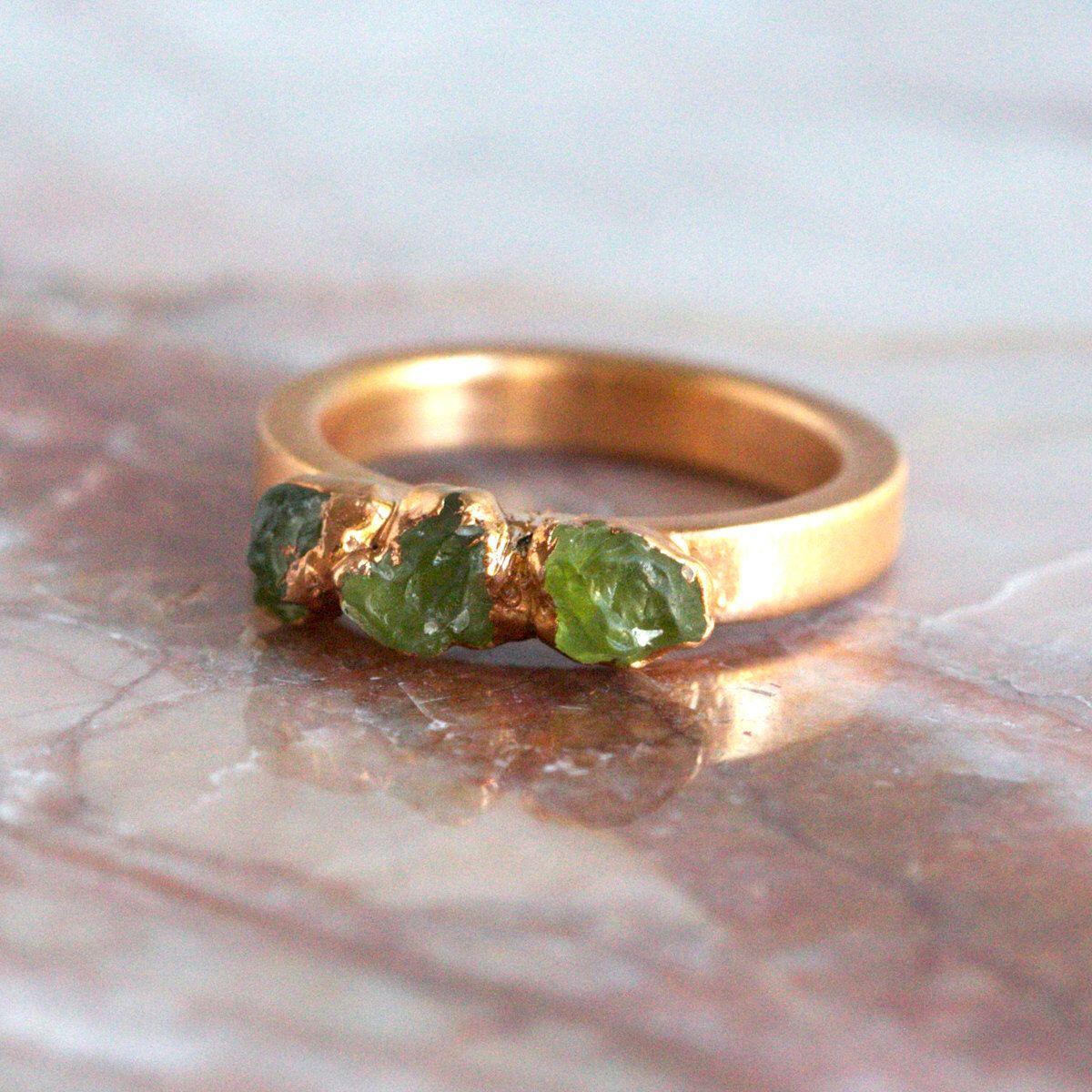 peridot ring gold / green stone ring / peridot stacking ring / stackable ring…