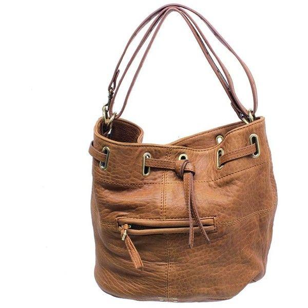 "Jerome Dreyfuss ""Alain"" Tan Pebbled Leather Bucket Bag ($550) ❤ liked on Polyvore"