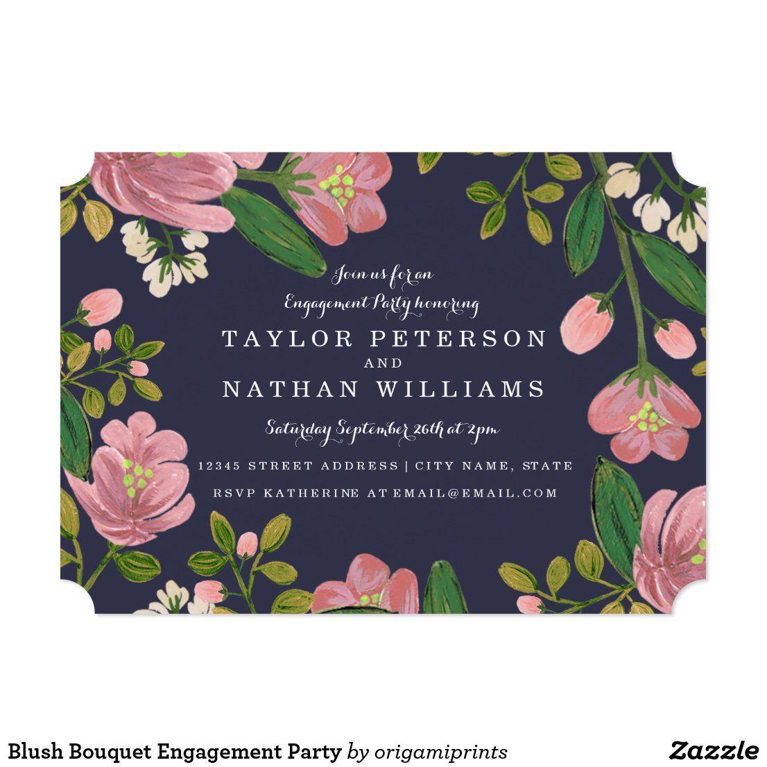Blush Bouquet Engagement Party Invitation Zazzle Com Engagement Party Invitations Engagement Party Cards Engagement Party