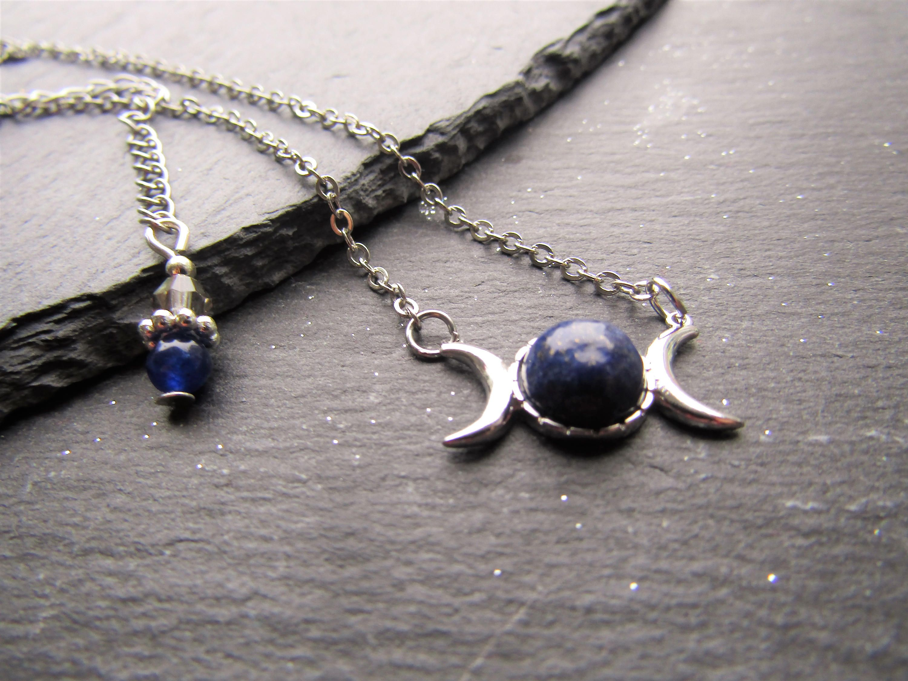 il necklace jewelry choker wiccan or fullxfull listing triple chain cord pagan moon tattoo goddess