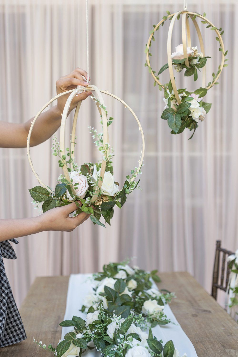 Set of blush pink floral hoop wreaths in wedding ideas